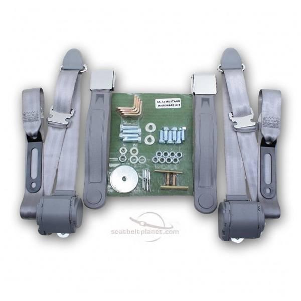 Seatbelt Planet - 1964-1973 Ford Mustang Convertible Lift Latch Retractable Lap & Shoulder Conversion Seat Belt Kit