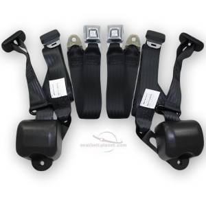Chevelle - Chevelle 3-Point Conversion Kits - Seatbelt Planet - 1966-1967 Chevy Chevelle Bench Seat Retractable Lap & Shoulder Conversion Seat Belt Kit
