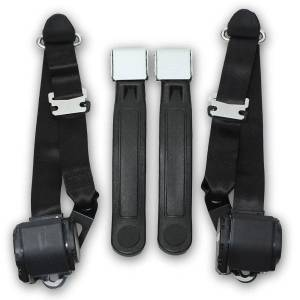 Seatbelt Planet - 1968-1973 Ford Mustang Coupe & Fastback Lift Latch Retractable Lap & Shoulder Conversion Seat Belt Kit